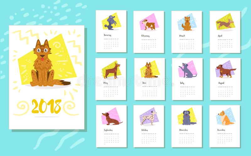 Calendário 2018 Raça dos cães ilustração do vetor