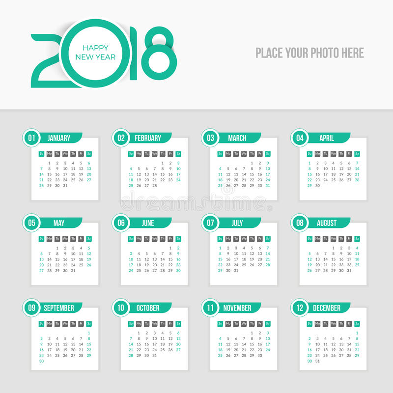 Calendário 2018 - a semana começa domingo ilustração royalty free