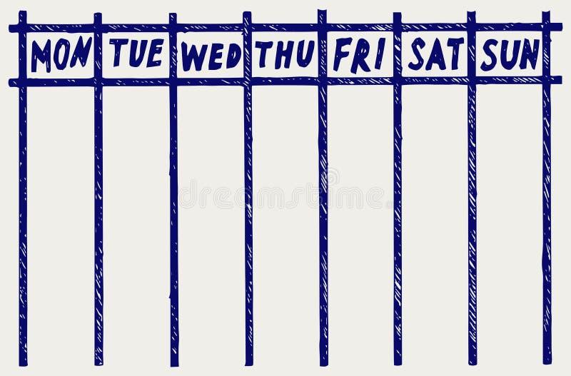 Calendário semanal ilustração royalty free