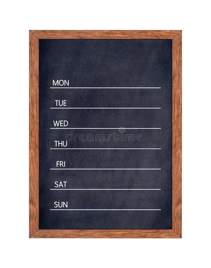 Calendário semanal do quadro para a organização da casa ou de escritório imagens de stock