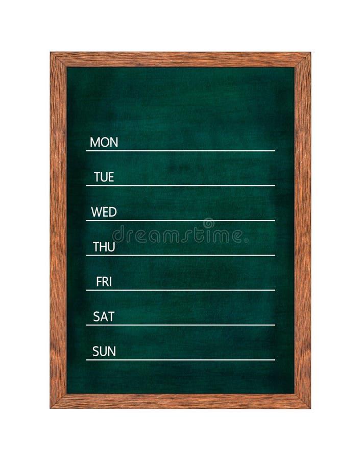 Calendário semanal do quadro para a organização da casa ou de escritório imagem de stock royalty free