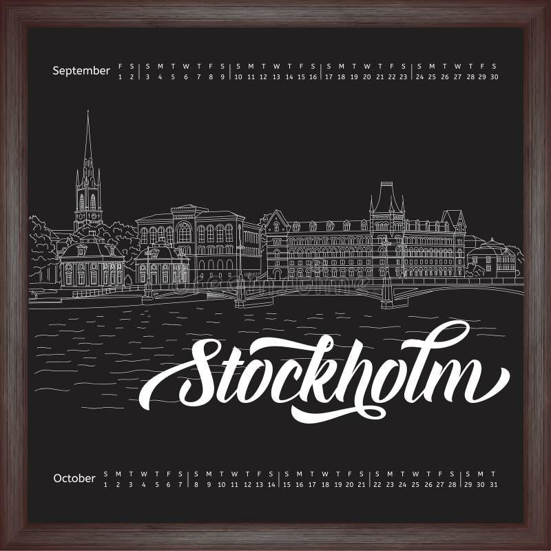Calendário 2017 setembro, outubro com a cidade que esboça Éstocolmo, Suécia no fundo do quadro ilustração stock
