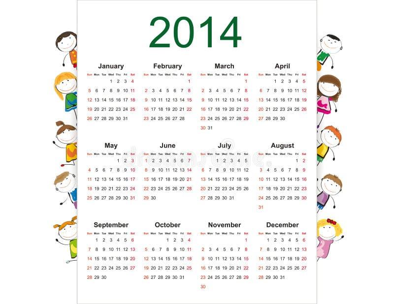 Calendário 2014 simples ilustração royalty free