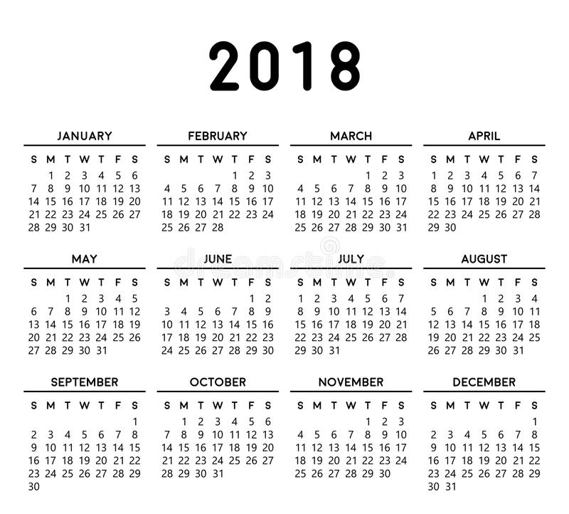 Calendário simples 2018 ilustração royalty free