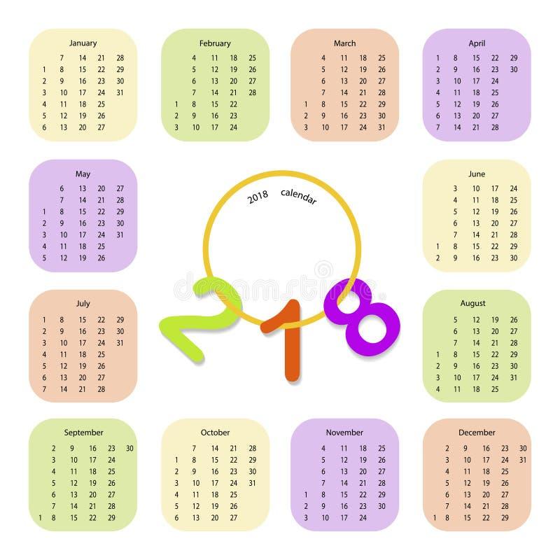 Calendário simples 2018 ilustração do vetor