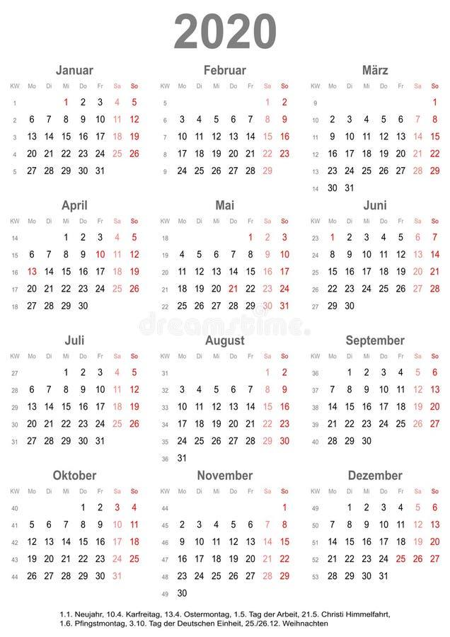 Calendário simples 2020 com feriados para Alemanha ilustração royalty free