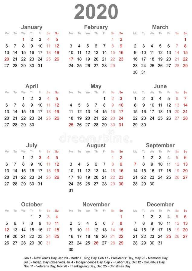 Calendário simples 2020 com feriados para EUA ilustração do vetor