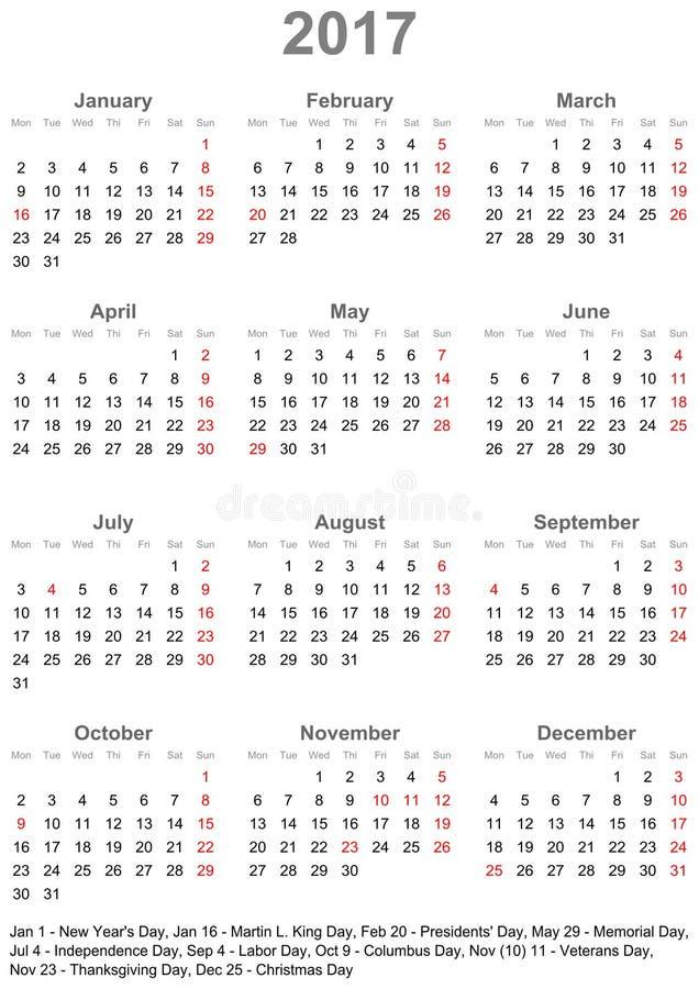 Calendário simples 2017 com feriados para os EUA ilustração royalty free
