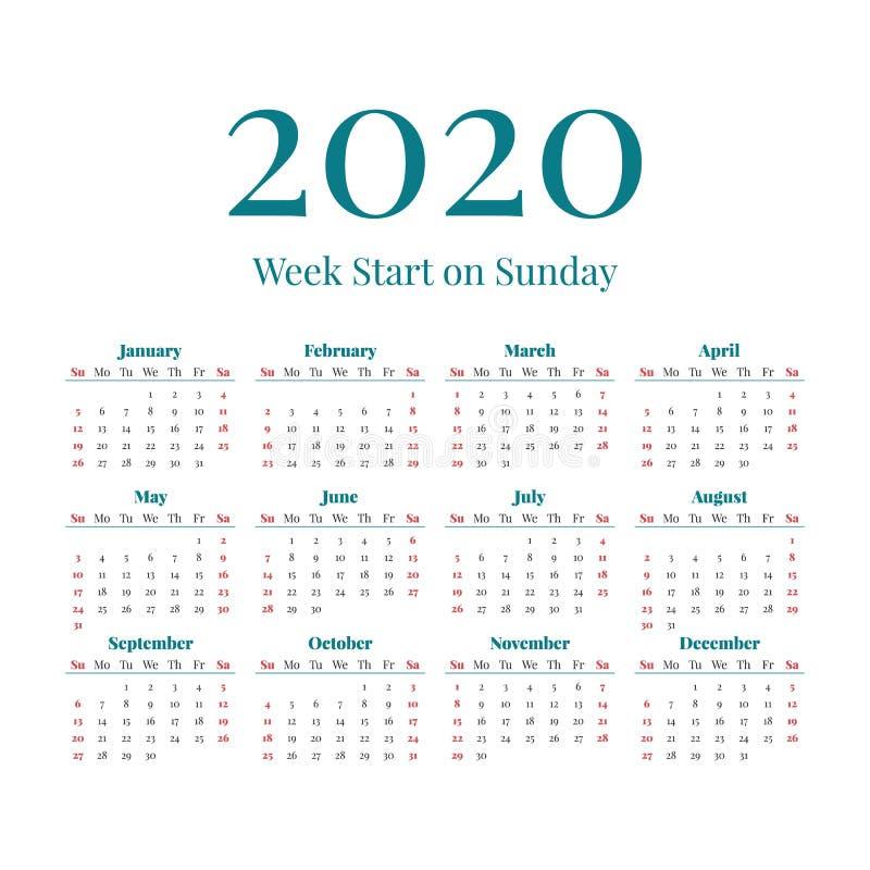 Calendário simples de 2020 anos ilustração stock