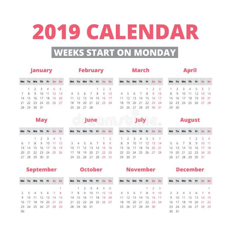 Calendário simples de 2019 anos ilustração stock