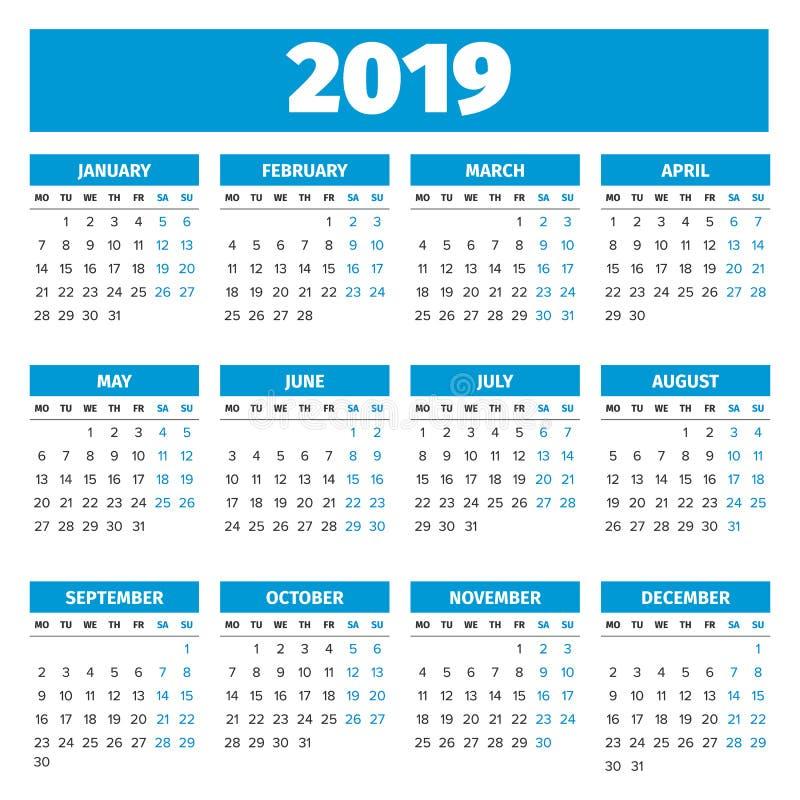 Calendário simples de 2019 anos ilustração do vetor