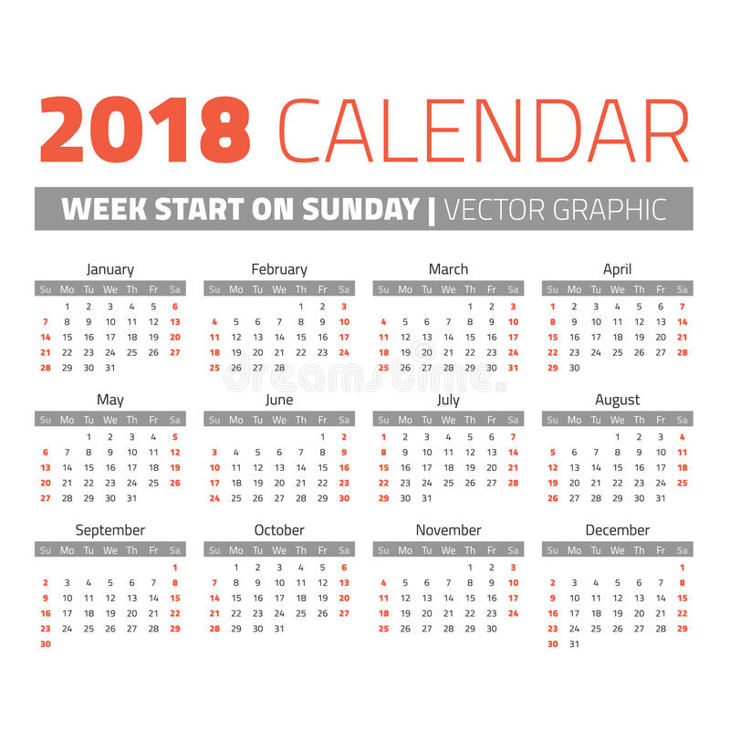 Calendário simples de 2018 anos ilustração stock