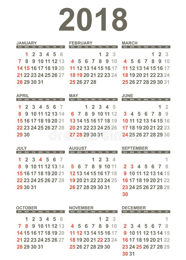 Calendário simples de 2018 anos ilustração do vetor