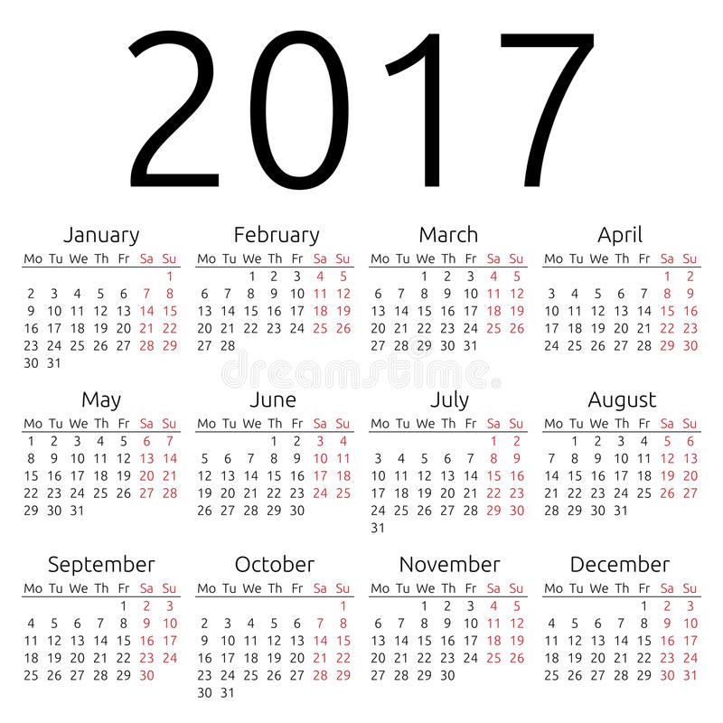 Calendário simples 2017 do vetor ilustração stock