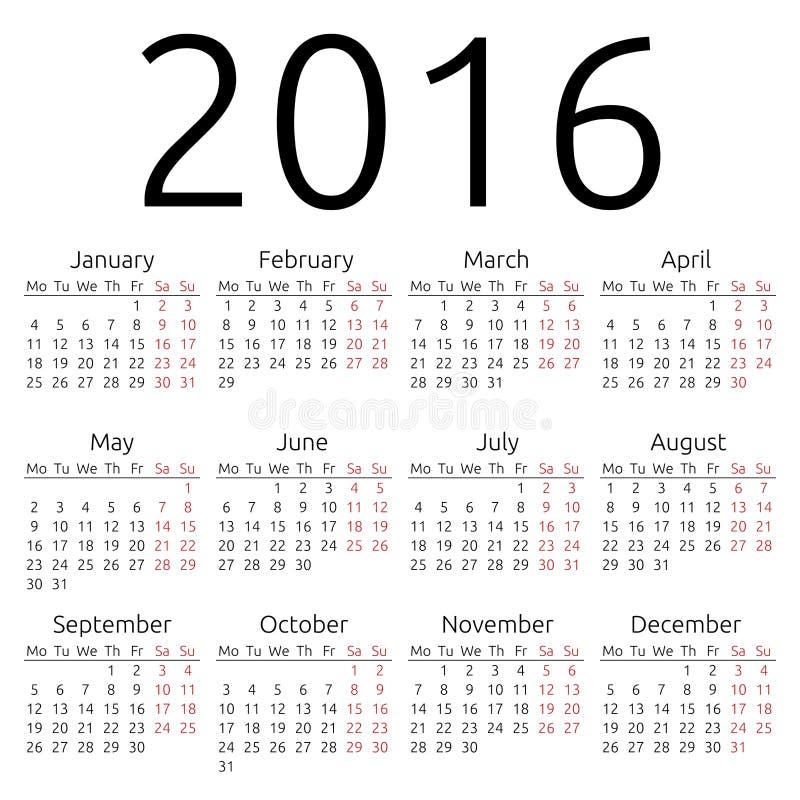 Calendário simples 2016 do vetor ilustração do vetor