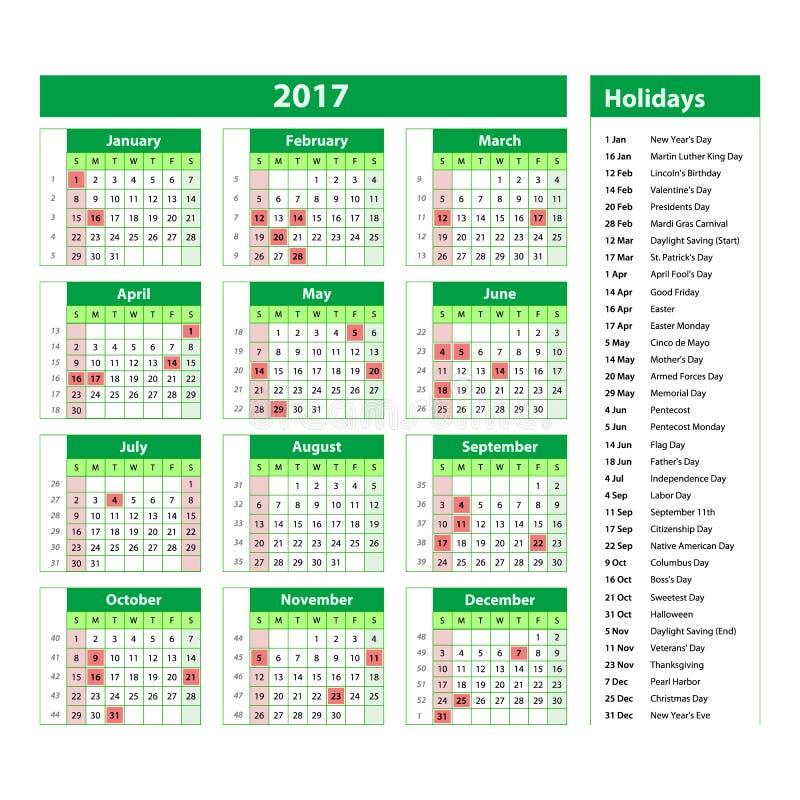 Calendário simples 2017 identificado por meio dos feriados oficiais para os EUA Os começos da semana em domingo ilustração royalty free