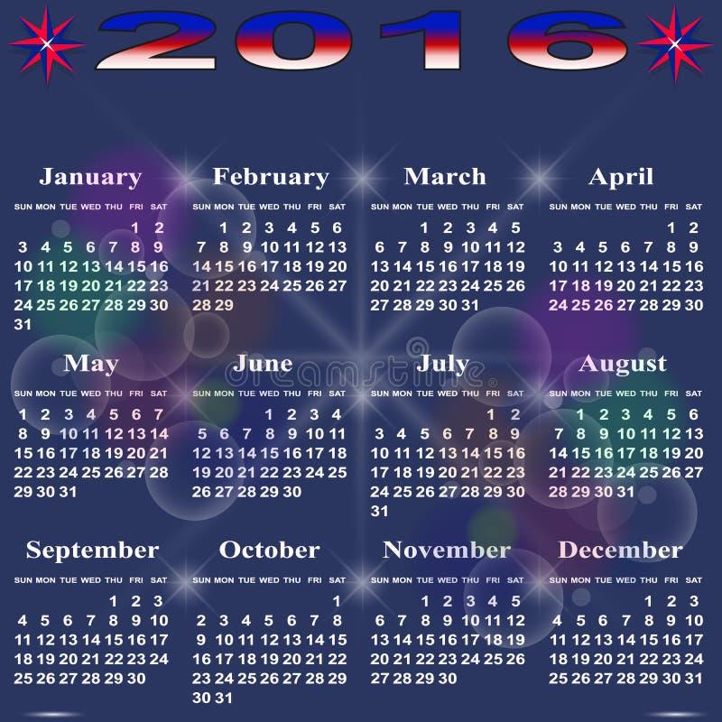 Calendário simples para 2016 ilustração royalty free