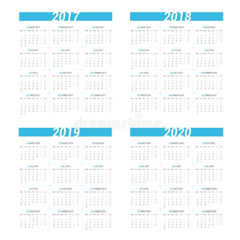 Calendário simples por 4 anos 2017 - 2020 A semana parte de segunda-feira ilustração stock