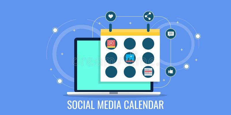 Calendário social dos meios, desenvolvimento digital da estratégia de marketing, planeamento do evento do negócio ilustração do vetor