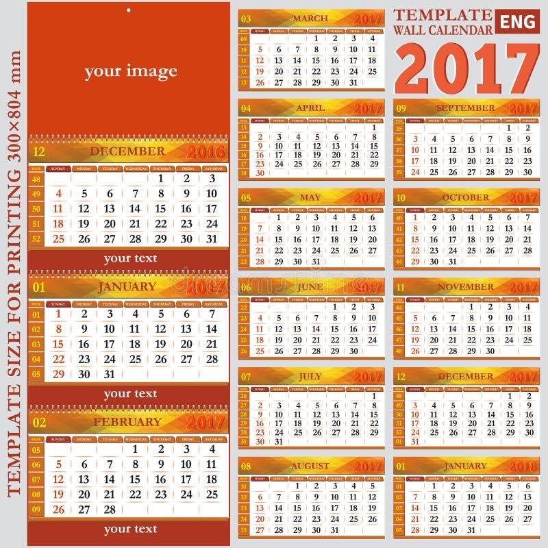 Calendário trimestral 2017 da parede inglesa do molde ilustração do vetor