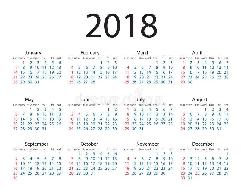 Calendário um estilo simples de 2018 anos A semana parte de domingo Calendário 2018 do círculo do vetor A semana parte de domingo ilustração do vetor