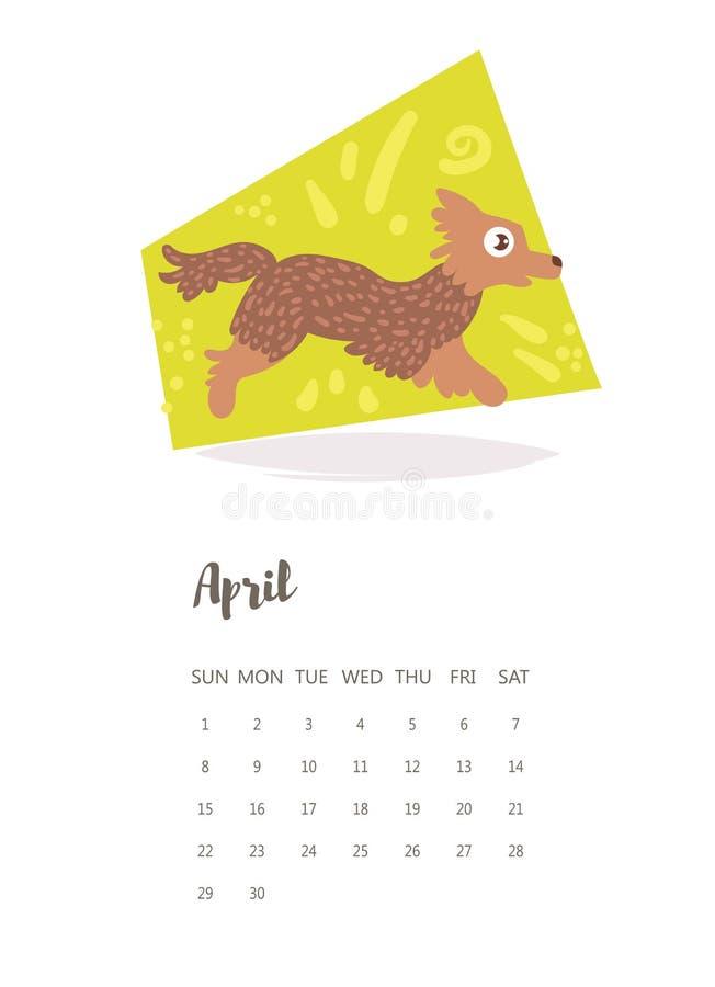 Calendário 2018 Vetor ilustração stock