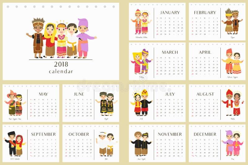 2018 calendário, vetor tradicional indonésio dos desenhos animados da roupa ilustração royalty free