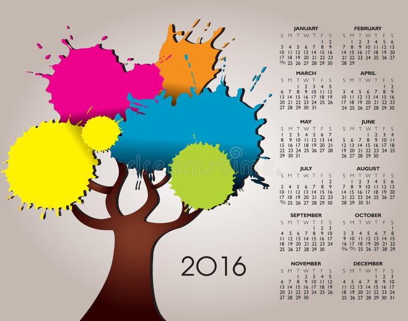 Calendários da natureza uns 2016 e da árvore ilustração stock