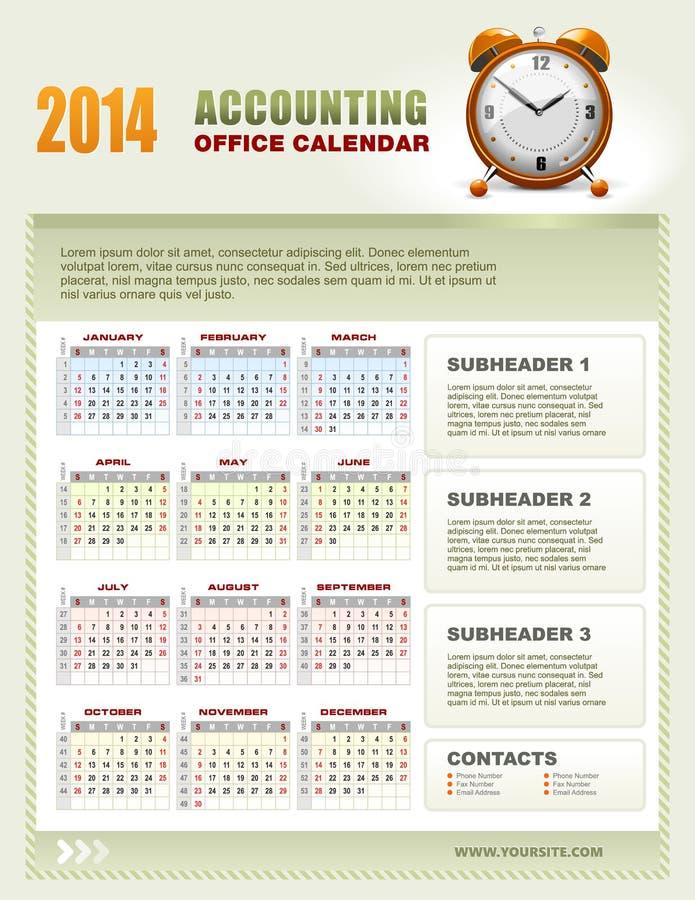 2014 calendários explicando com semana numeram o vetor ilustração royalty free
