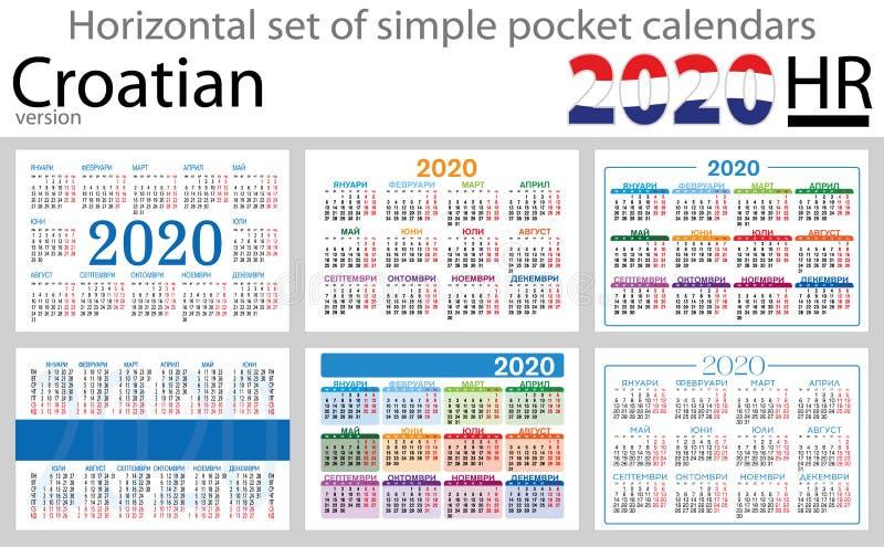 Calendários horizontais croatas 2020 do bolso ilustração do vetor
