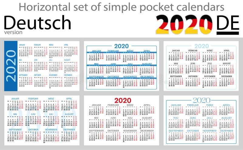 Calendários horizontais 2020 do bolso de Deutsch ilustração do vetor