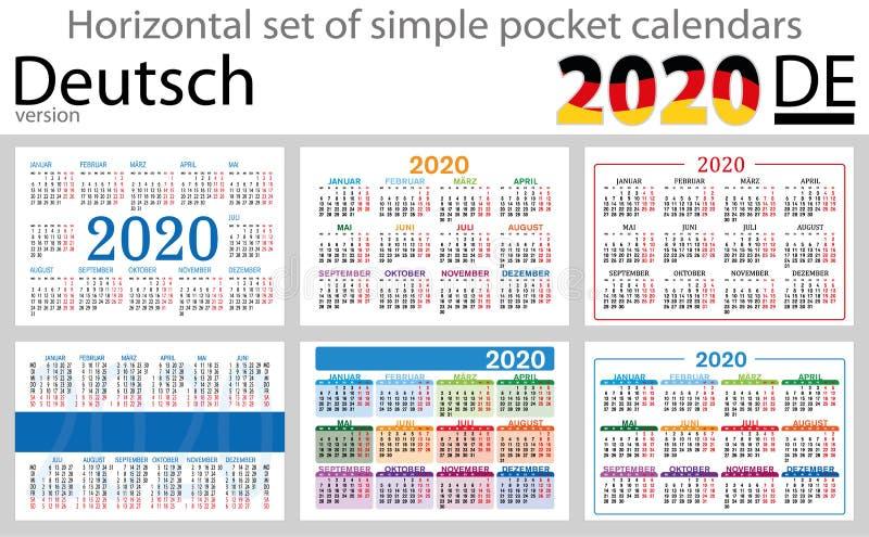 Calendários horizontais 2020 do bolso de Deutsch ilustração stock