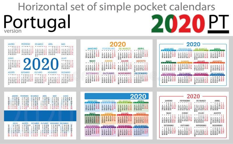 Calendários horizontais 2020 do bolso de Portugal ilustração do vetor