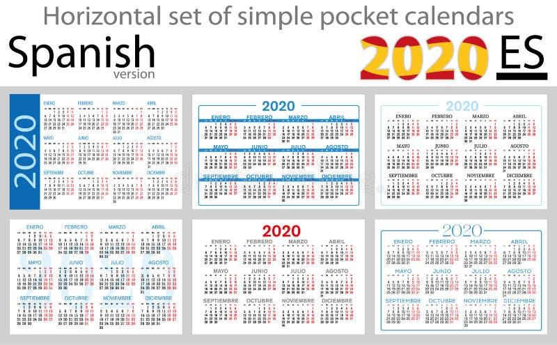 Calendários horizontais espanhóis 2020 do bolso ilustração do vetor