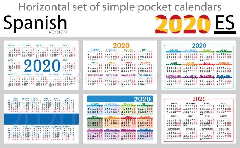 Calendários horizontais espanhóis 2020 do bolso ilustração stock