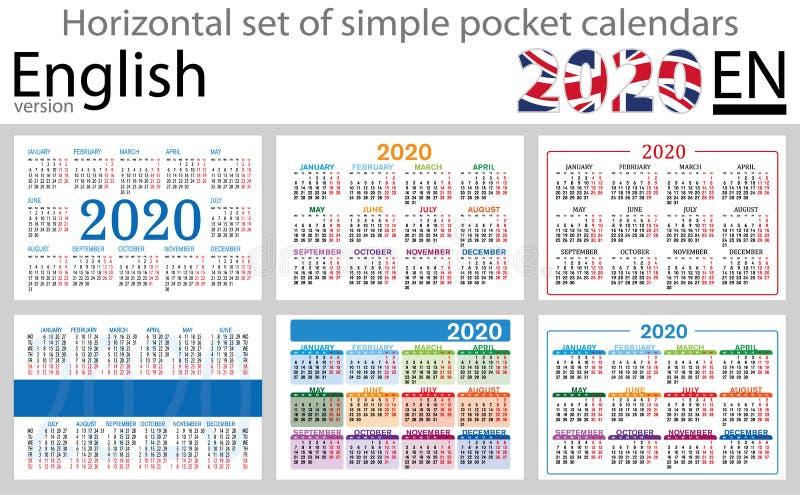 Calendários horizontais ingleses 2020 do bolso ilustração royalty free