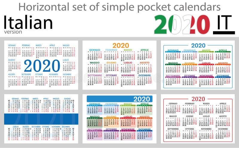 Calendários horizontais italianos 2020 do bolso ilustração do vetor