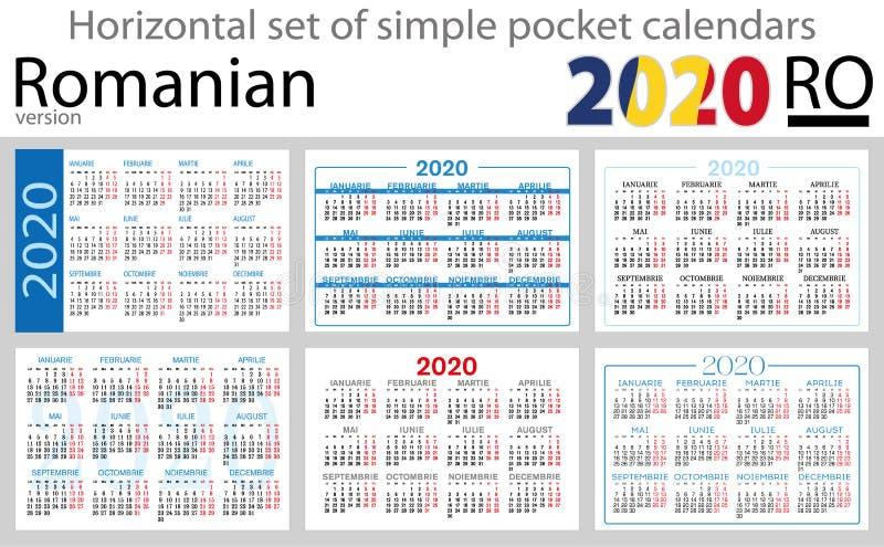 Calendários horizontais romenos 2020 do bolso ilustração stock