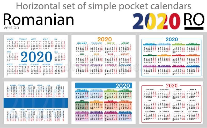 Calendários horizontais romenos 2020 do bolso ilustração royalty free