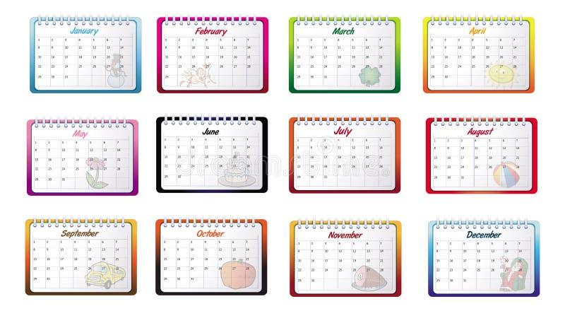 Calendários mensais ilustração do vetor