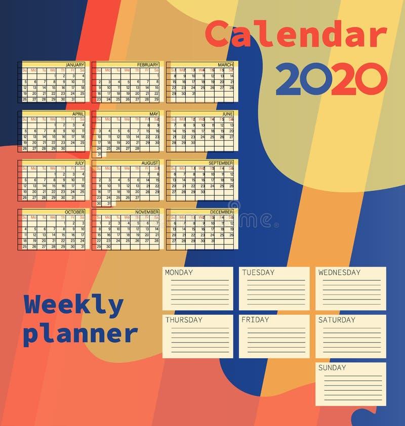 Calendários 2020 Planejador semanal ilustração royalty free