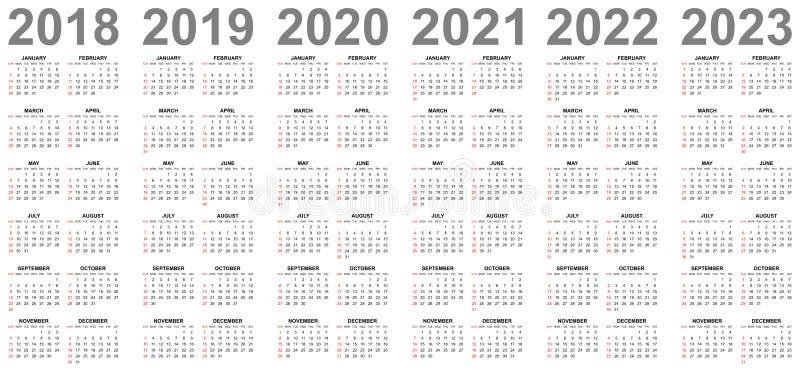Calendários simples por anos 2018 2019 2020 2021 2022 domingos 2023 no vermelho primeiramente ilustração royalty free