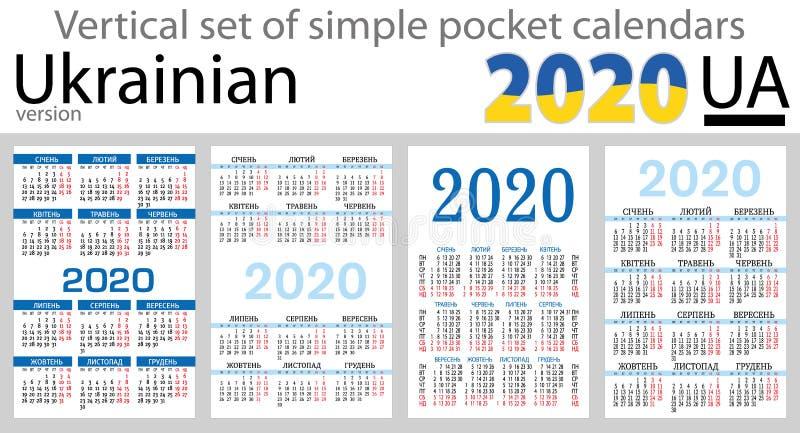 Calendários verticais ucranianos 2020 do bolso ilustração do vetor