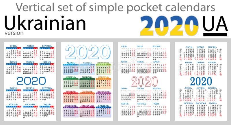 Calendários verticais ucranianos 2020 do bolso ilustração royalty free