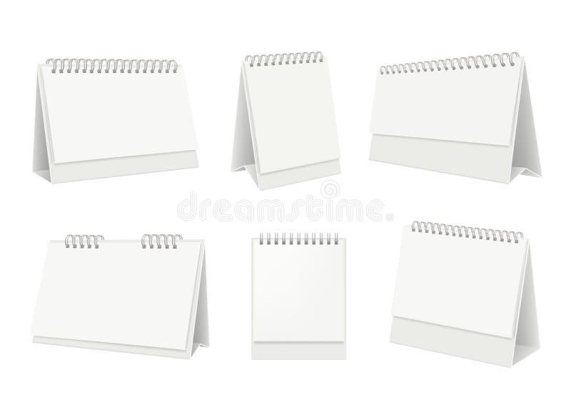 Calend?rio da tabela em branco Organizador Desktop com o modelo realístico do vetor das páginas do Livro Branco ilustração royalty free