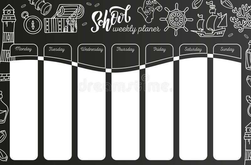 Calend?rio semanal no quadro 7 - plano do dia no fundo preto do quadro Molde do calendário da escola com texto escrito da mão, ilustração do vetor