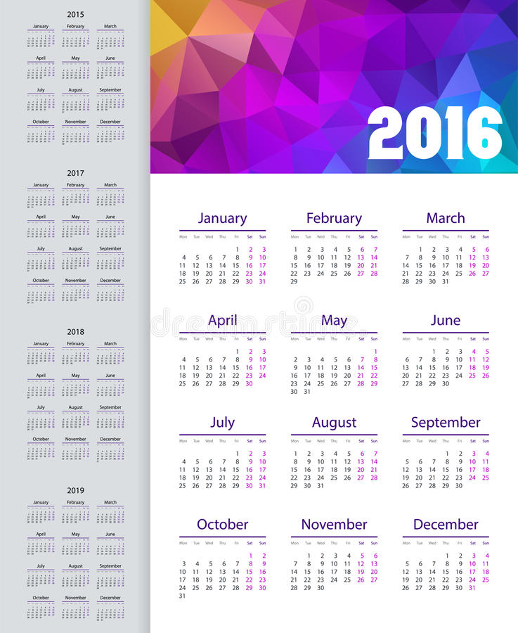 Calendar 2015, 2016, 2017, 2018, 2019 år Veckan startar från måndag royaltyfri illustrationer