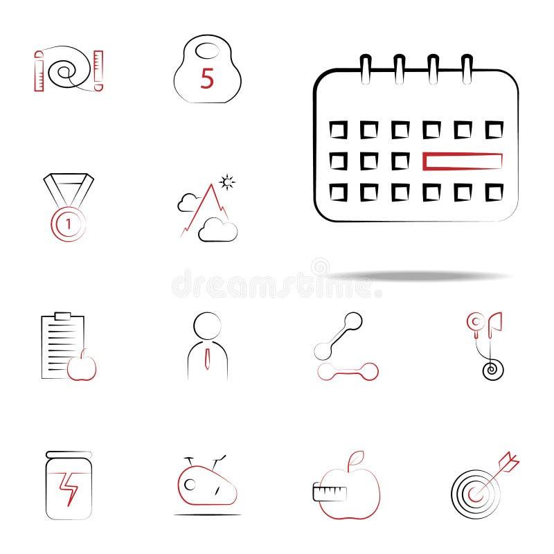 calendar икона Комплект значков фитнеса всеобщий для сети и черни бесплатная иллюстрация
