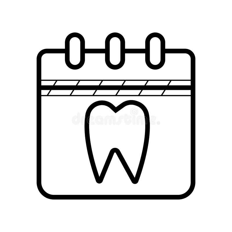 Calendar назначение с зубоврачебным заполненным зубом значком плана иллюстрация вектора