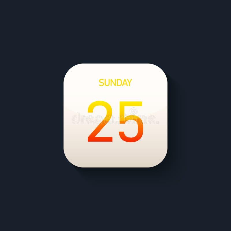 Calendar стиль значка современный футуристический с длинной тенью иллюстрация вектора